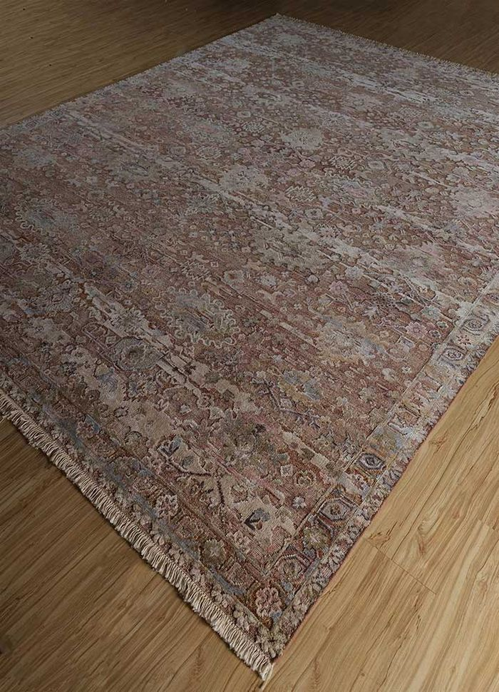 far east red and orange wool and silk hand knotted Rug - FloorShot