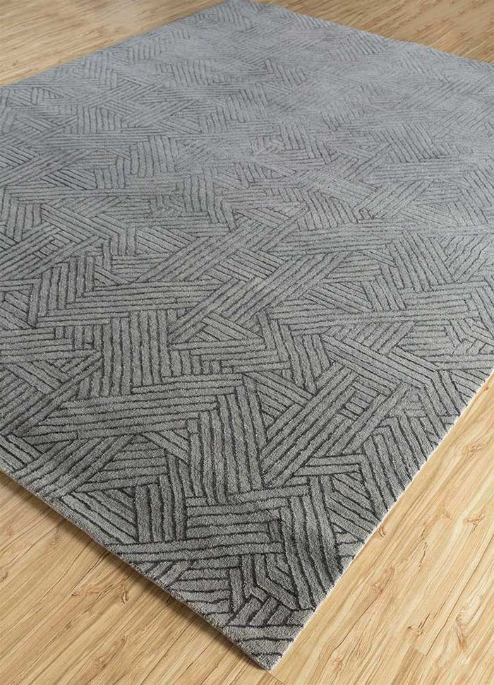 cleo grey and black wool and bamboo silk hand knotted Rug - FloorShot