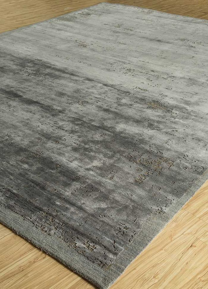 urban pause by kavi grey and black wool and bamboo silk hand knotted Rug - FloorShot
