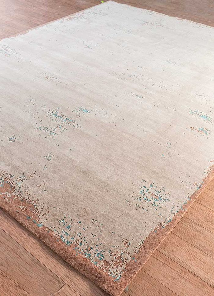 urban pause by kavi red and orange wool and bamboo silk hand knotted Rug - FloorShot