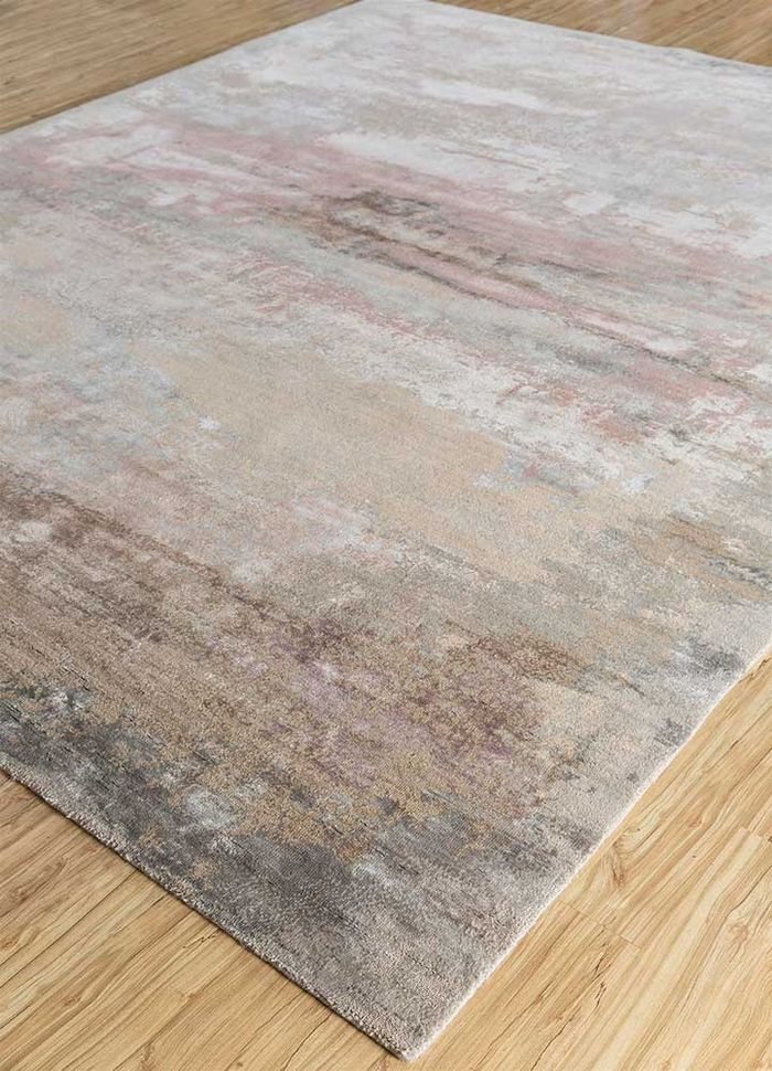 faulty by kavi grey and black wool and bamboo silk hand knotted Rug - FloorShot