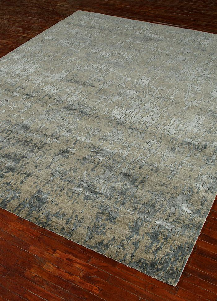 chaos theory by kavi blue wool and bamboo silk hand knotted Rug - FloorShot