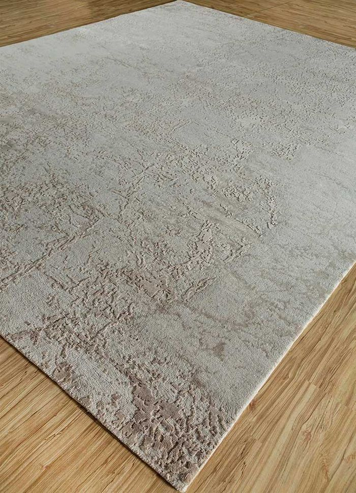 chaos theory by kavi ivory wool and bamboo silk hand knotted Rug - FloorShot