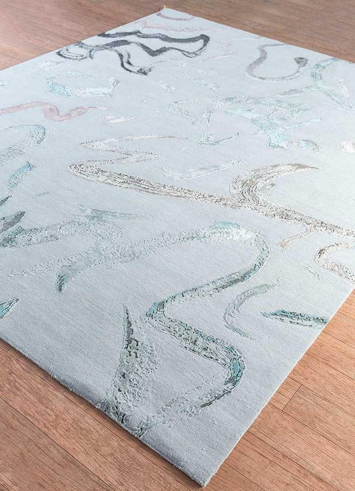 untitled by kavi blue wool and bamboo silk hand knotted Rug - FloorShot