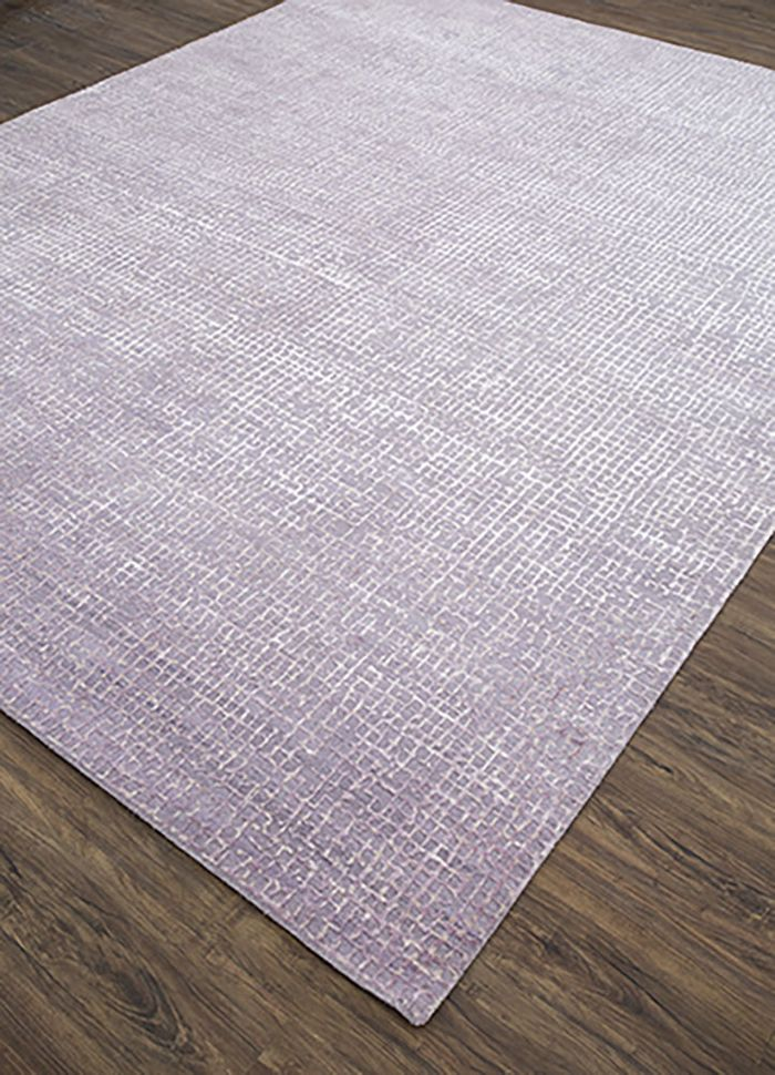 project error by kavi pink and purple wool and bamboo silk hand knotted Rug - FloorShot