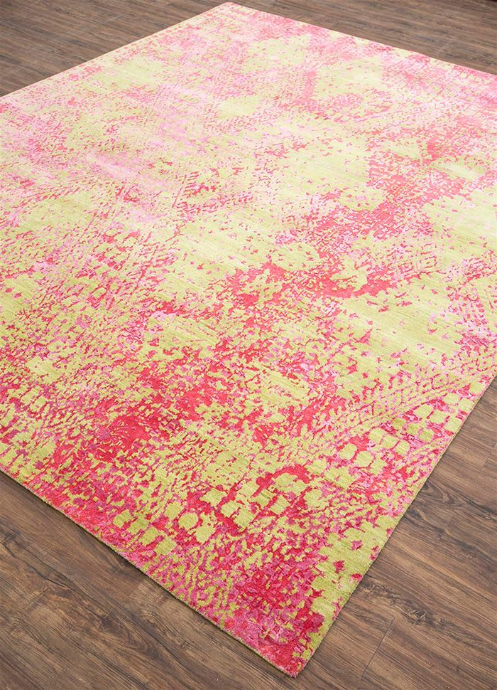 project error by kavi green wool and bamboo silk hand knotted Rug - FloorShot