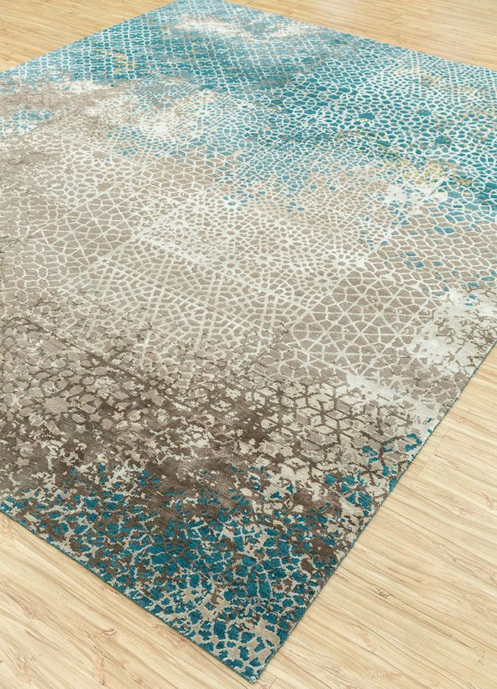 tattvam blue wool and bamboo silk hand knotted Rug - FloorShot