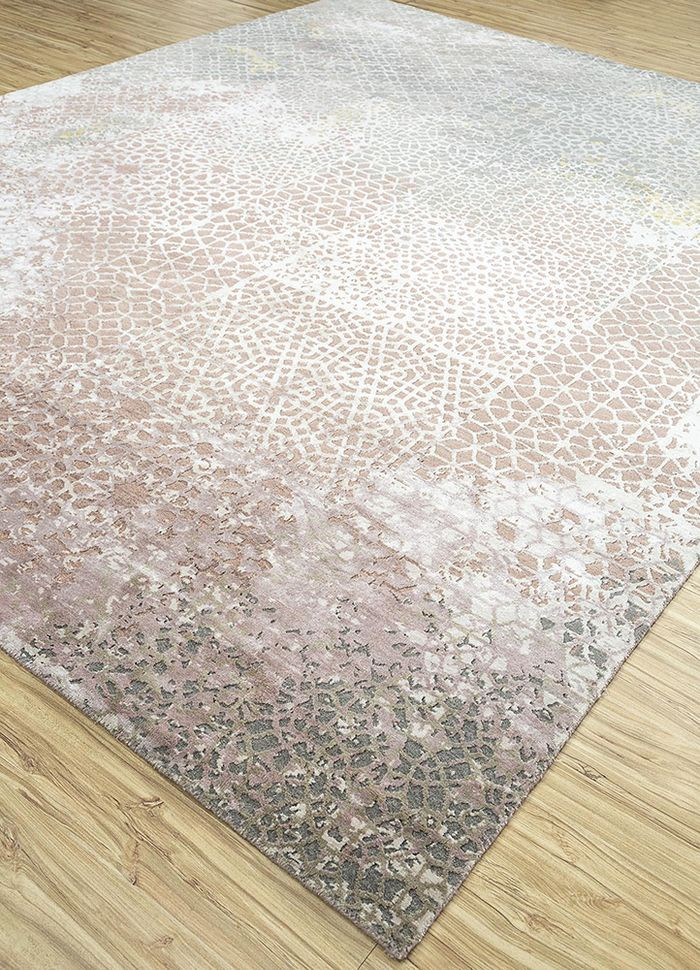 tattvam pink and purple wool and bamboo silk hand knotted Rug - FloorShot
