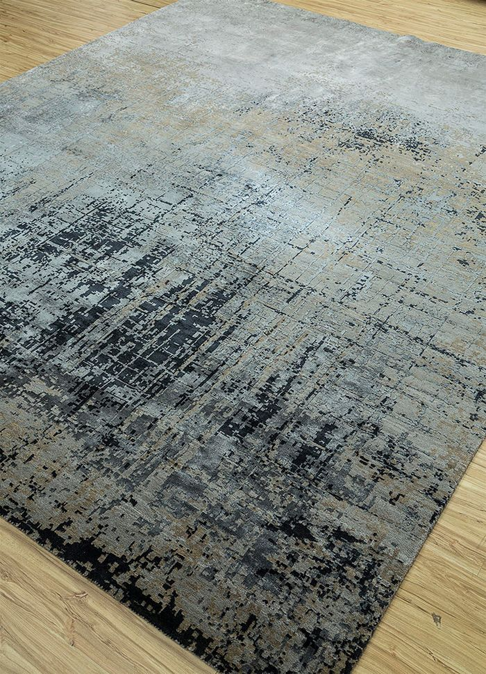 tattvam grey and black wool and bamboo silk hand knotted Rug - FloorShot