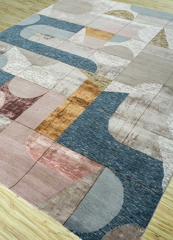 aakar by kavi beige and brown wool and bamboo silk hand knotted Rug - FloorShot