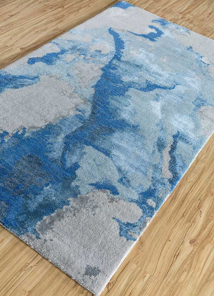 kibrast blue wool and bamboo silk hand knotted Rug - FloorShot