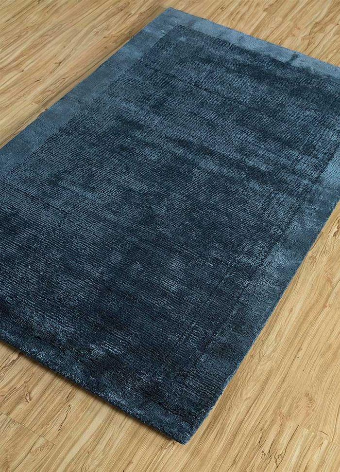 konstrukt blue wool and viscose hand loom Rug - FloorShot