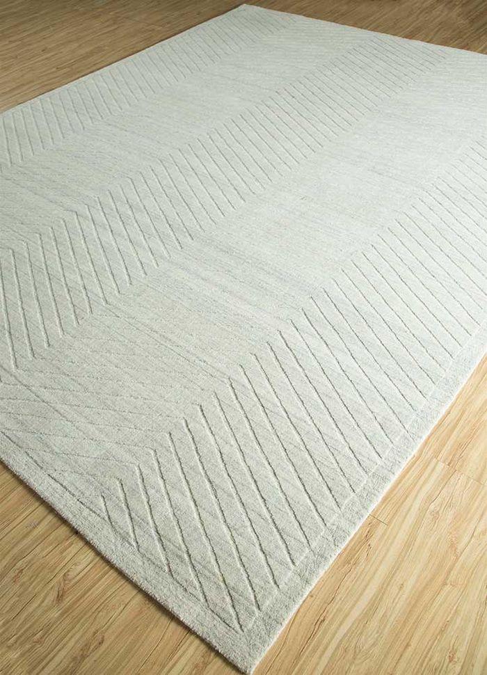 graze grey and black bamboo silk hand loom Rug - FloorShot