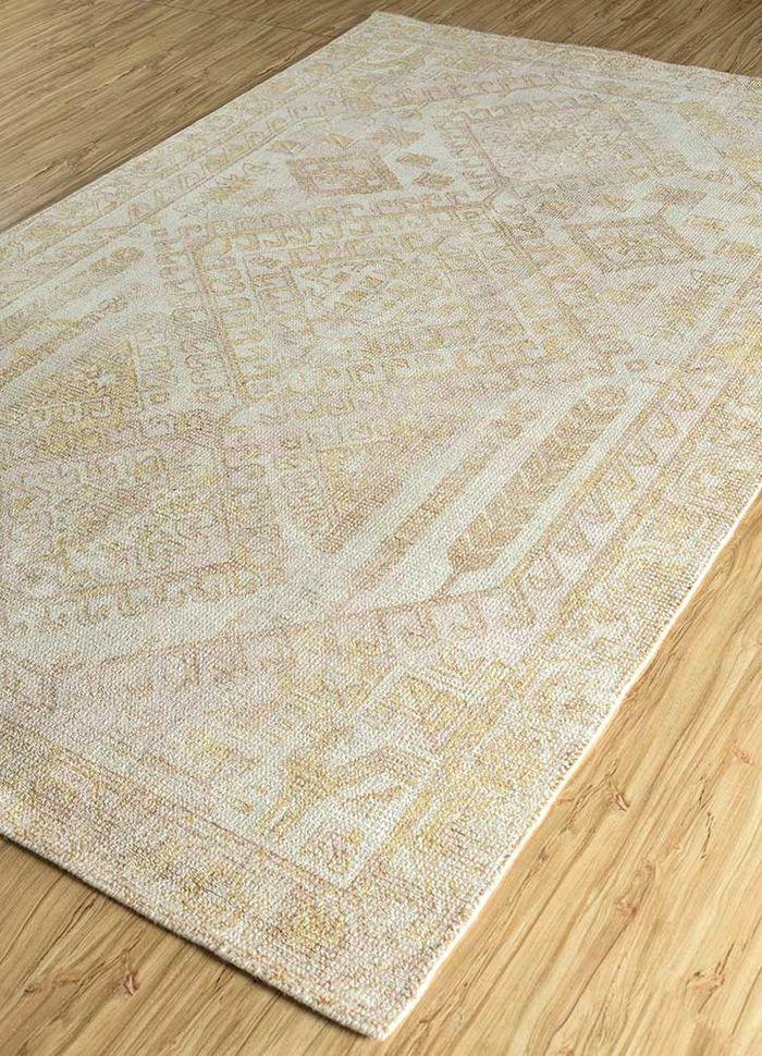 acar ivory wool and bamboo silk hand loom Rug - FloorShot