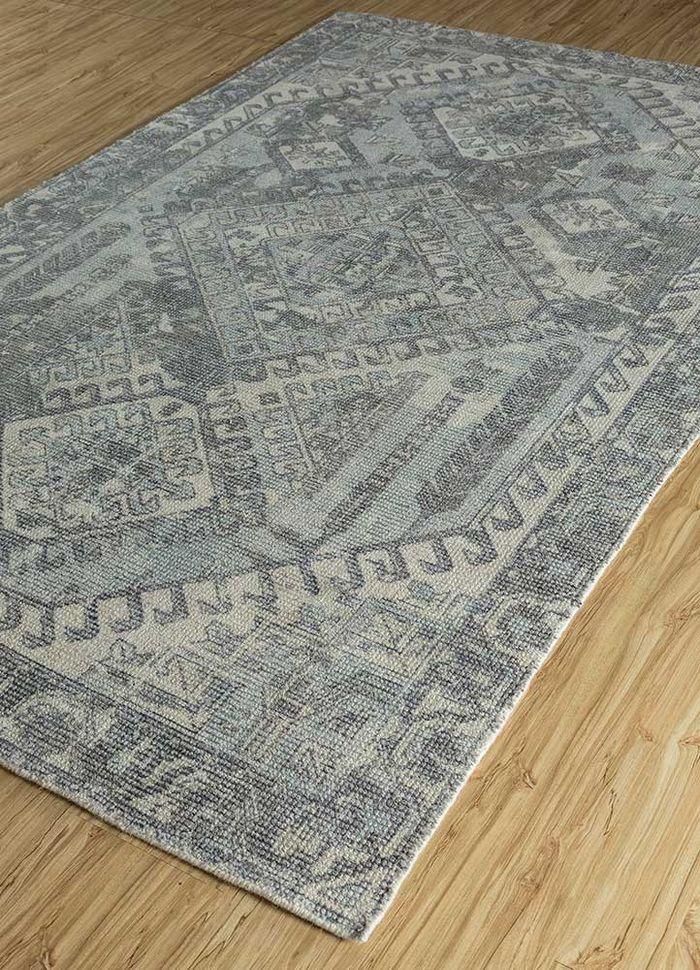 acar blue wool and bamboo silk hand loom Rug - FloorShot