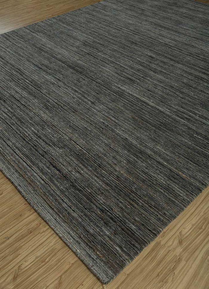 eron grey and black wool hand loom Rug - FloorShot