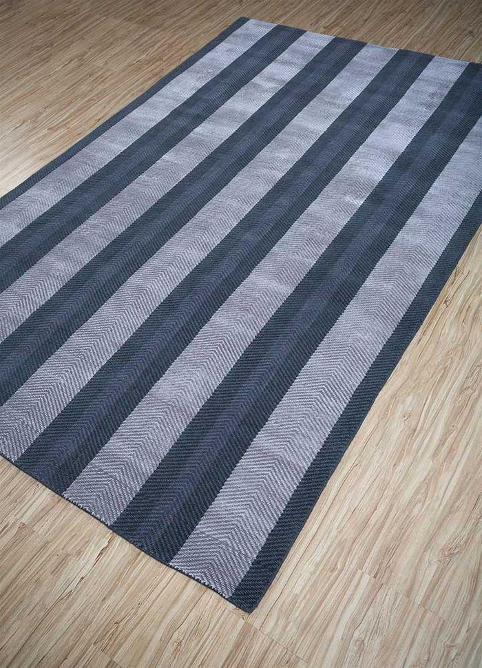 graze grey and black wool and viscose hand loom Rug - FloorShot