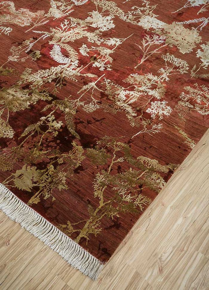pansy red and orange wool and silk hand knotted Rug - FloorShot