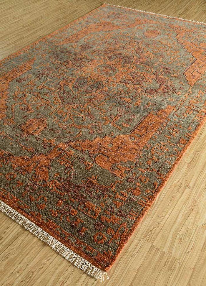 eden beige and brown wool hand knotted Rug - FloorShot