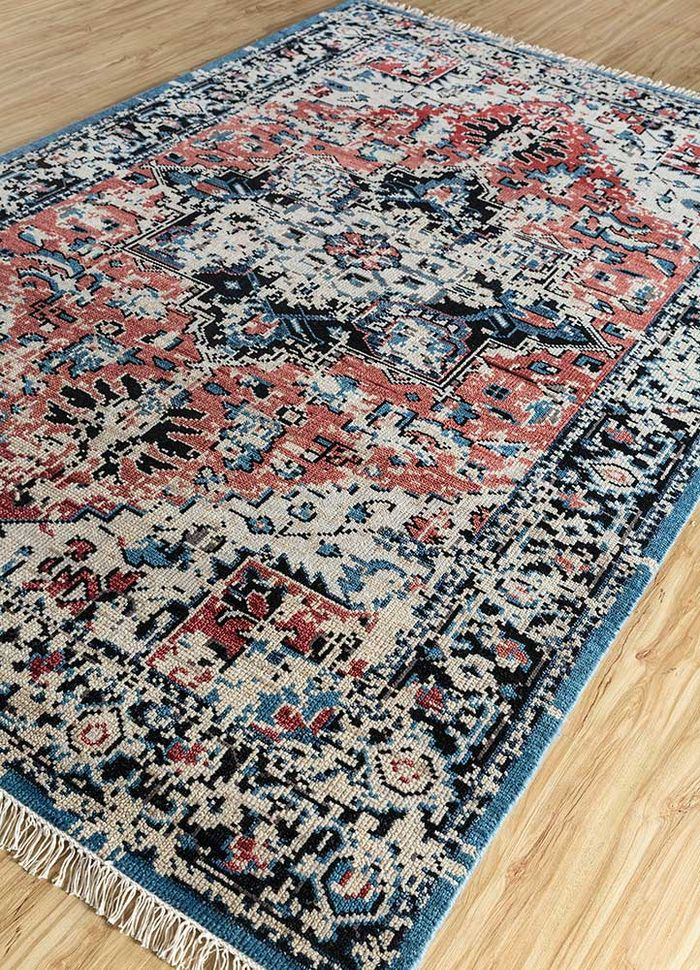 liberty red and orange wool hand knotted Rug - FloorShot