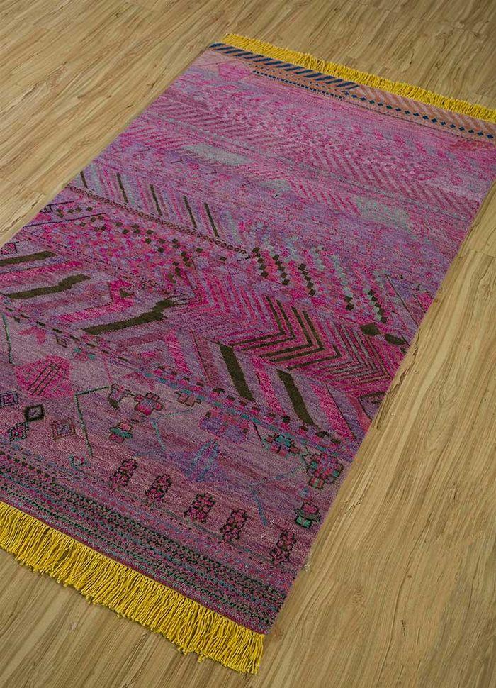 artisan originals pink and purple wool hand knotted Rug - FloorShot