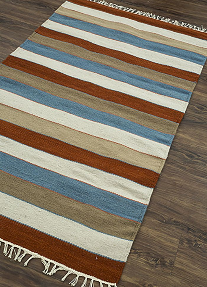 aqua multi wool flat weaves Rug - FloorShot