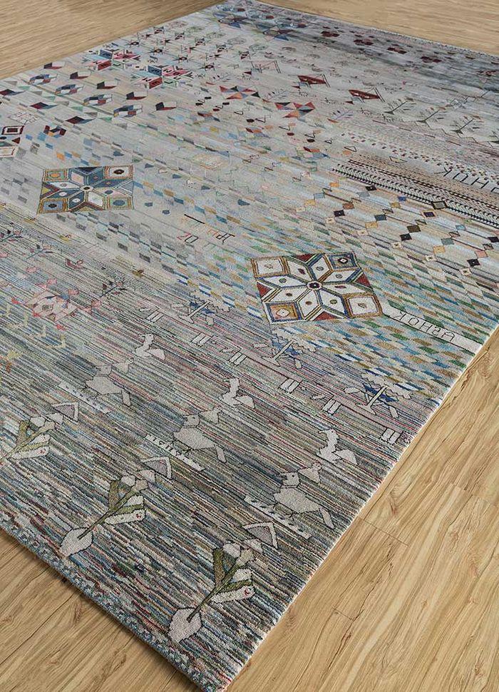 freedom manchaha grey and black wool and bamboo silk hand knotted Rug - FloorShot