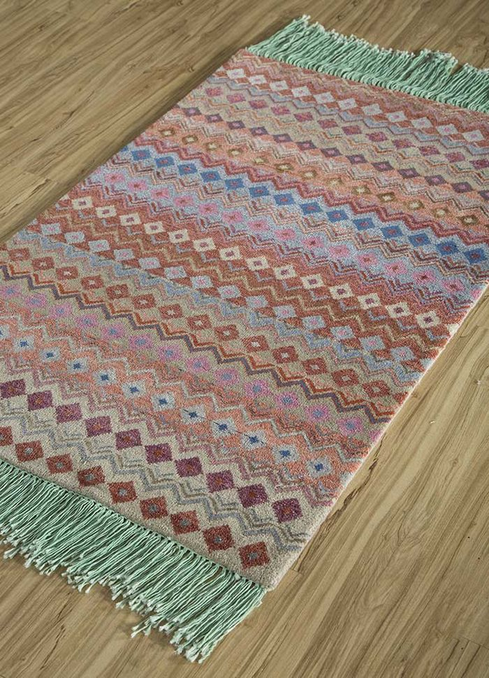 artisan originals beige and brown wool and bamboo silk hand knotted Rug - FloorShot