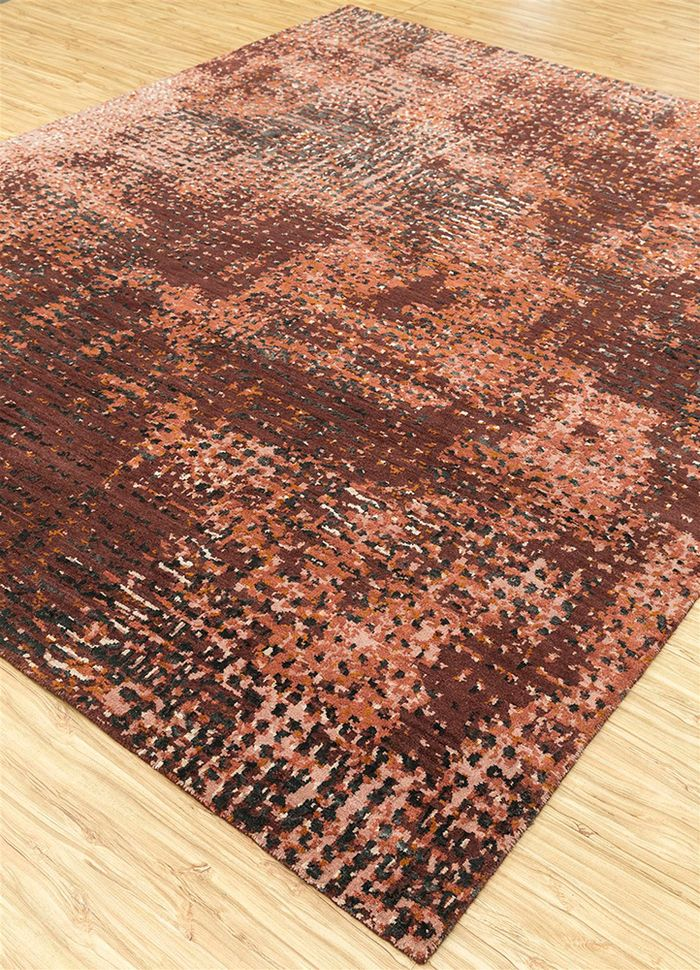 uvenuti red and orange wool and bamboo silk hand knotted Rug - FloorShot