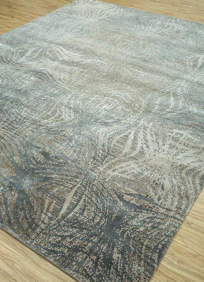 uvenuti grey and black wool and bamboo silk hand knotted Rug - FloorShot