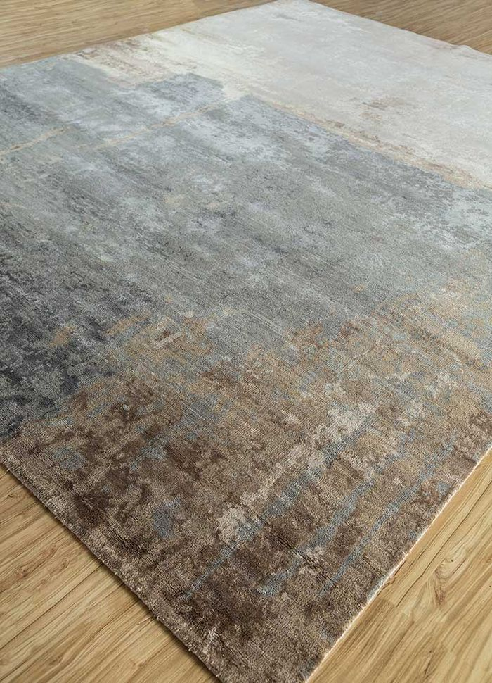 faulty by kavi ivory wool and bamboo silk hand knotted Rug - FloorShot