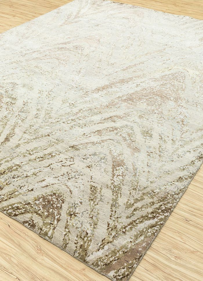 tattvam ivory wool and bamboo silk hand knotted Rug - FloorShot