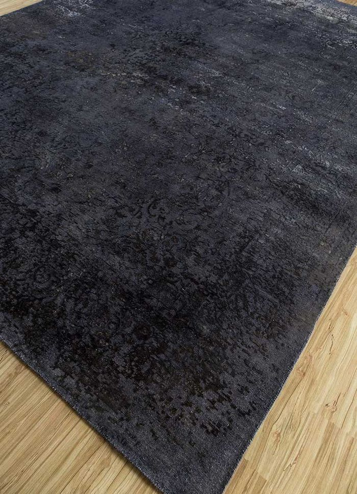 far east grey and black wool and silk hand knotted Rug - FloorShot