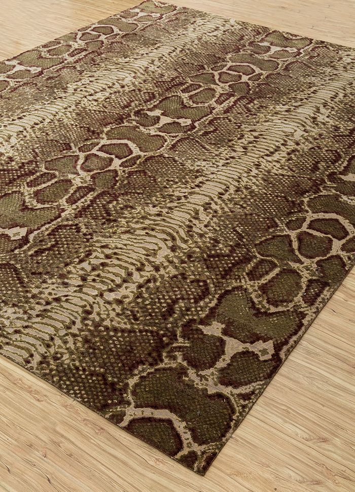 safari beige and brown wool and silk hand knotted Rug - FloorShot