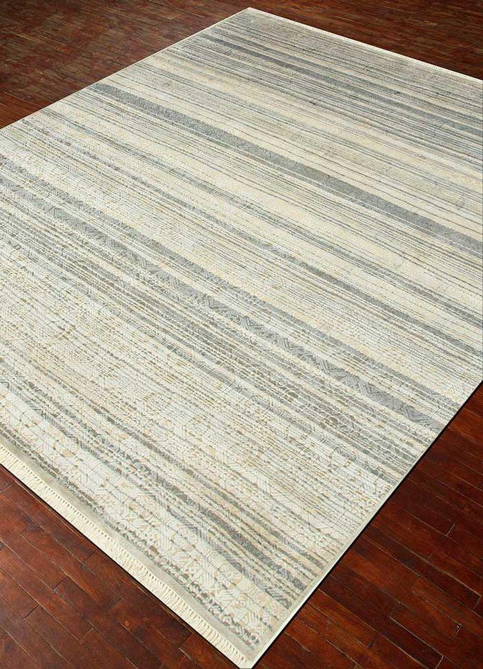 viscaya ivory wool and silk hand knotted Rug - FloorShot