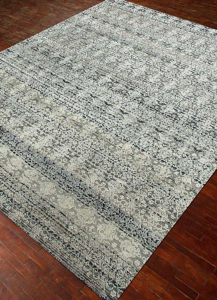 viscaya grey and black wool and silk hand knotted Rug - FloorShot