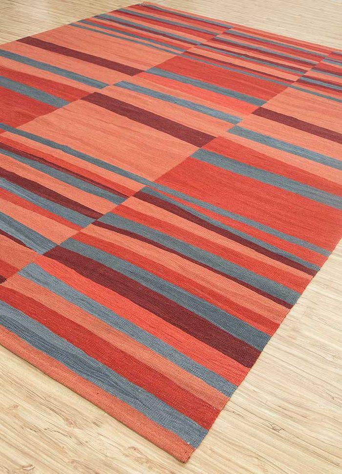 aqua red and orange cotton flat weaves Rug - FloorShot