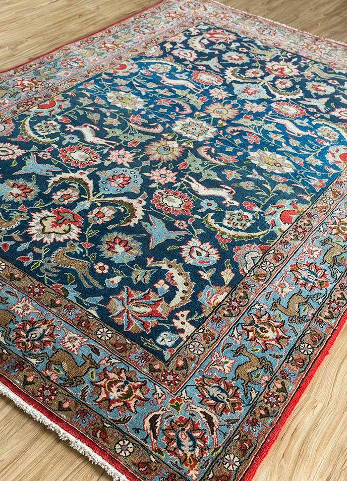antique blue wool hand knotted Rug - FloorShot