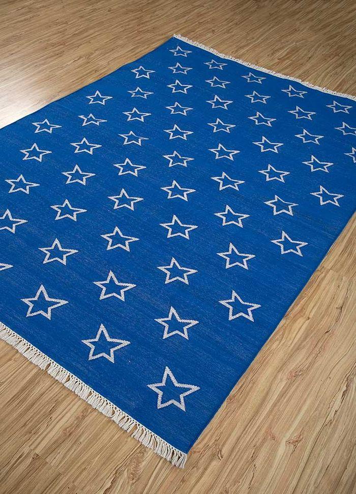 anatolia blue cotton flat weaves Rug - FloorShot