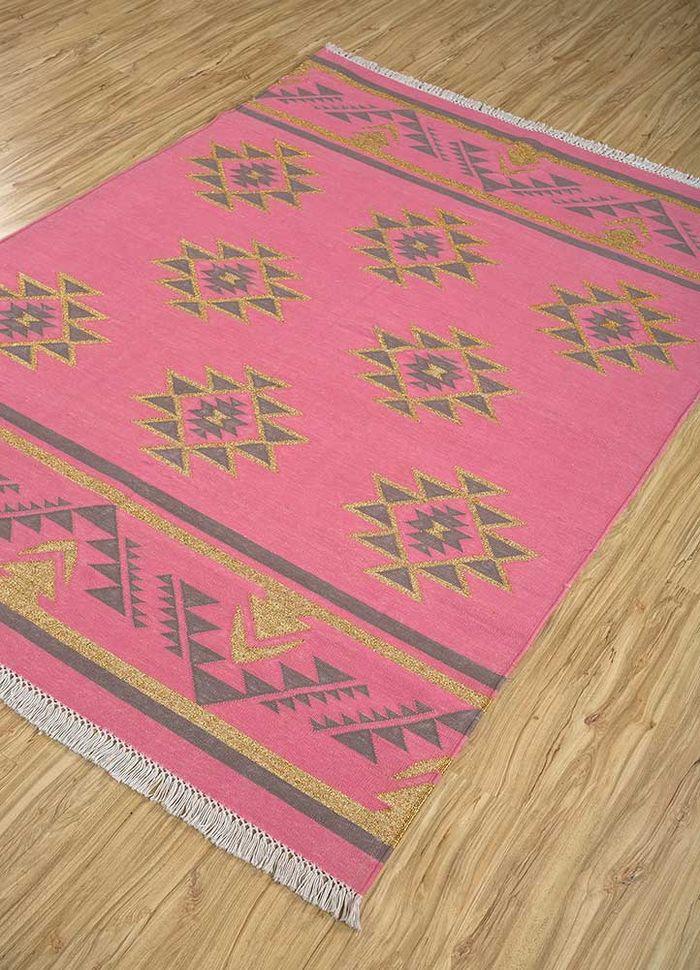 bedouin pink and purple cotton flat weaves Rug - FloorShot