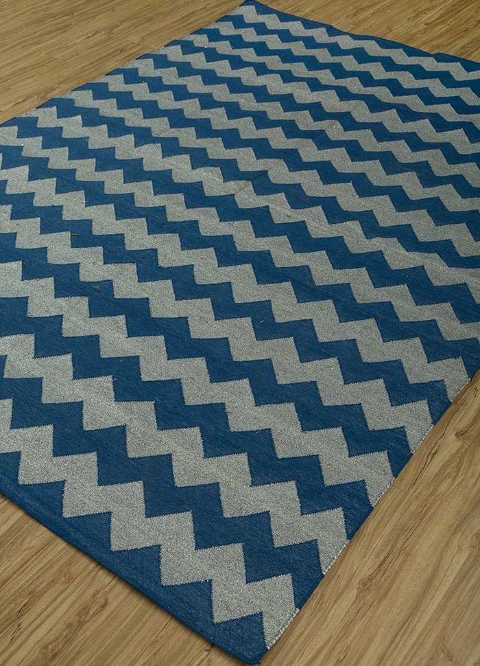 indusbar blue cotton flat weaves Rug - FloorShot