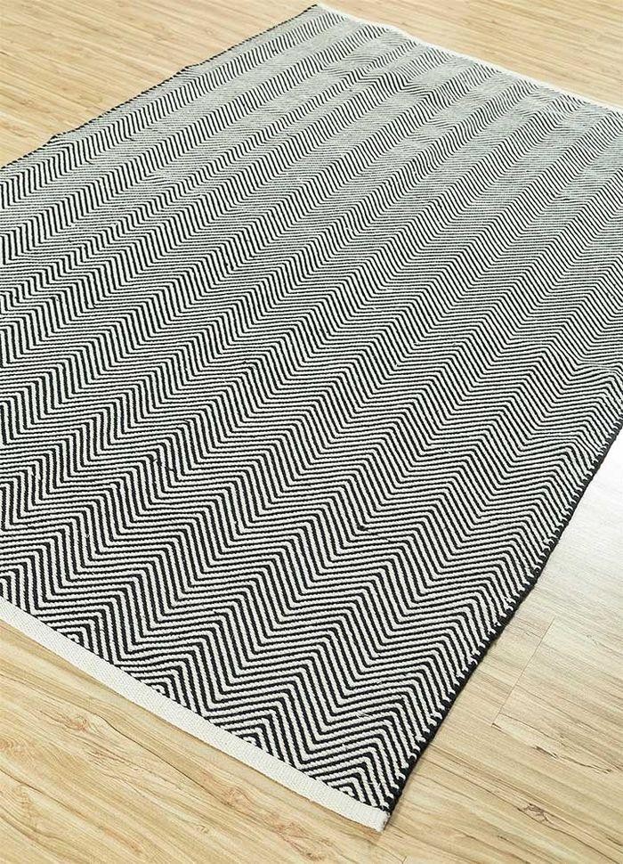aqua grey and black cotton flat weaves Rug - FloorShot
