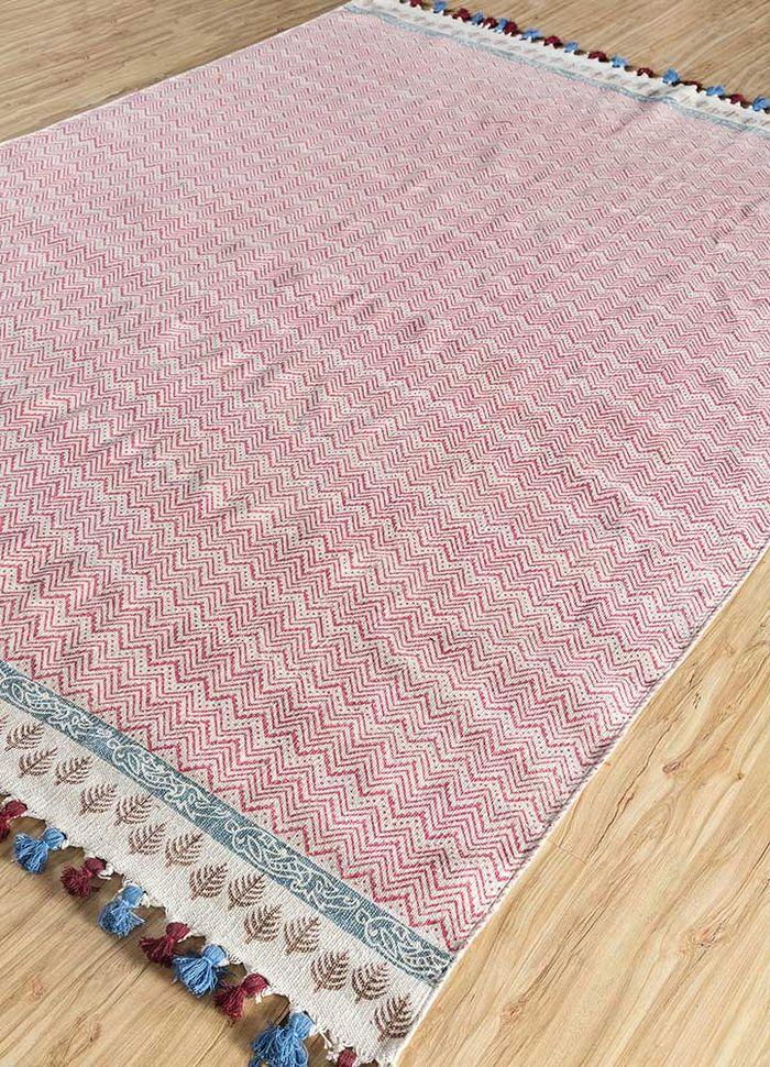 indusbar ivory cotton flat weaves Rug - FloorShot