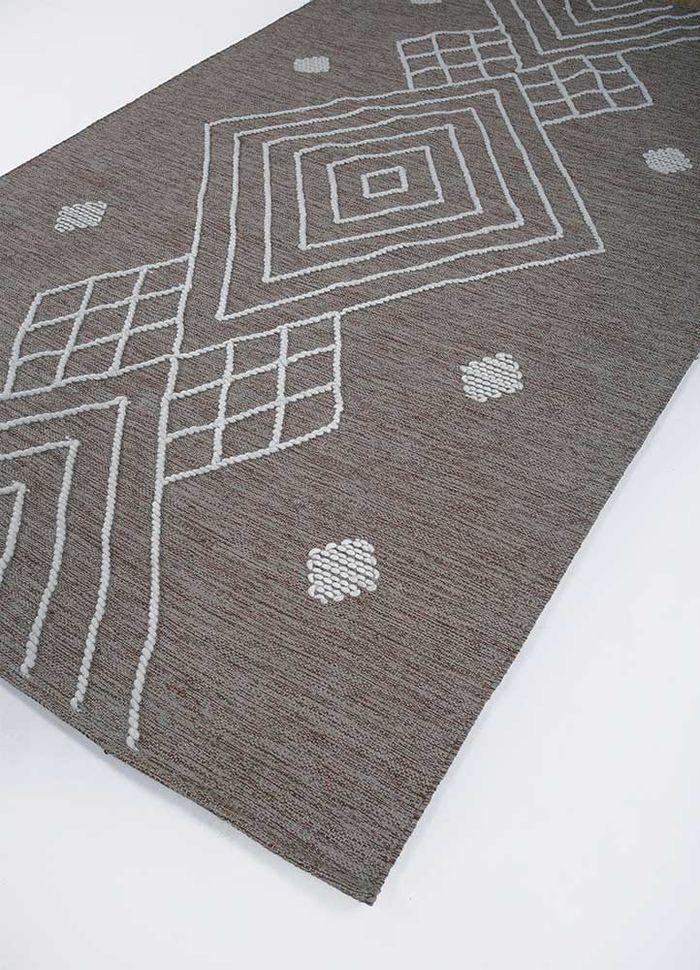 anatolia grey and black cotton flat weaves Rug - FloorShot