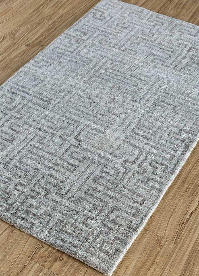 graze blue viscose hand loom Rug - FloorShot