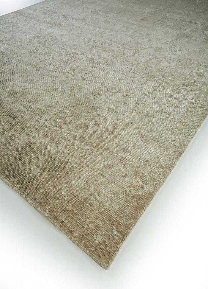 acar beige and brown wool and viscose hand loom Rug - FloorShot