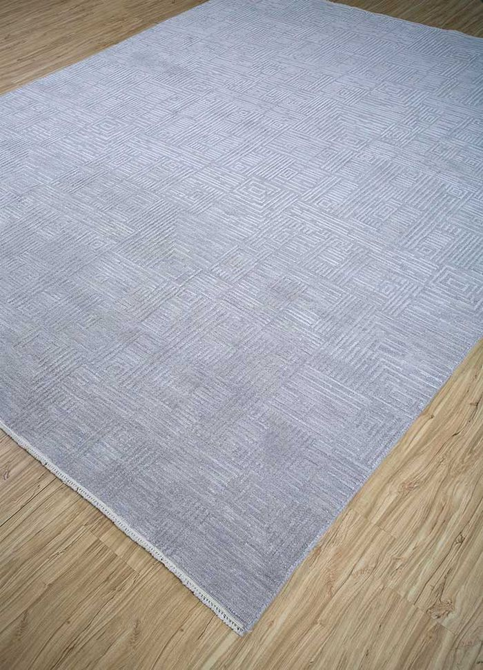 entropy grey and black wool and silk hand knotted Rug - FloorShot