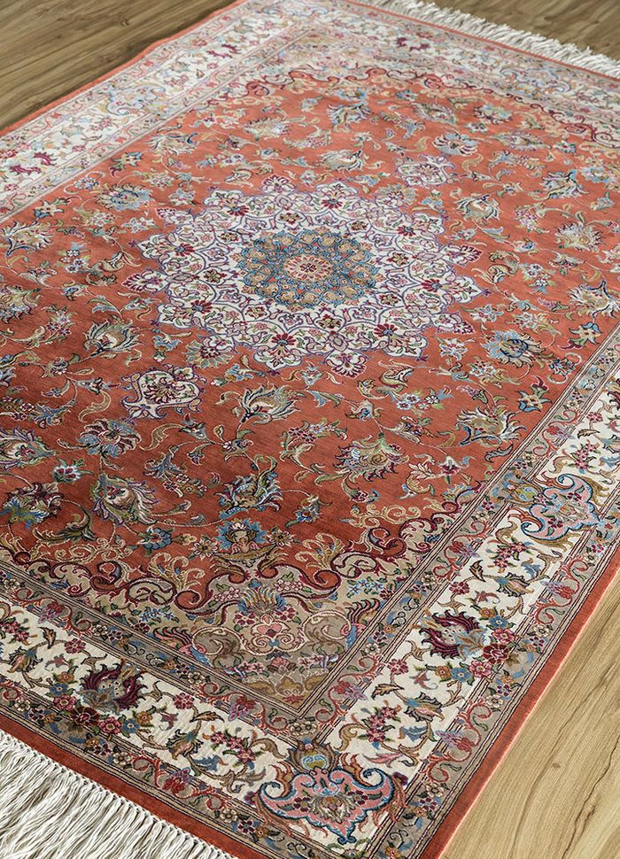 iranian red and orange silk hand knotted Rug - FloorShot