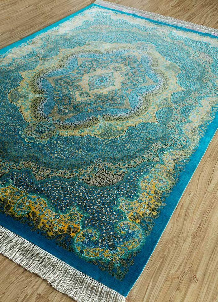 iranian blue silk hand knotted Rug - FloorShot