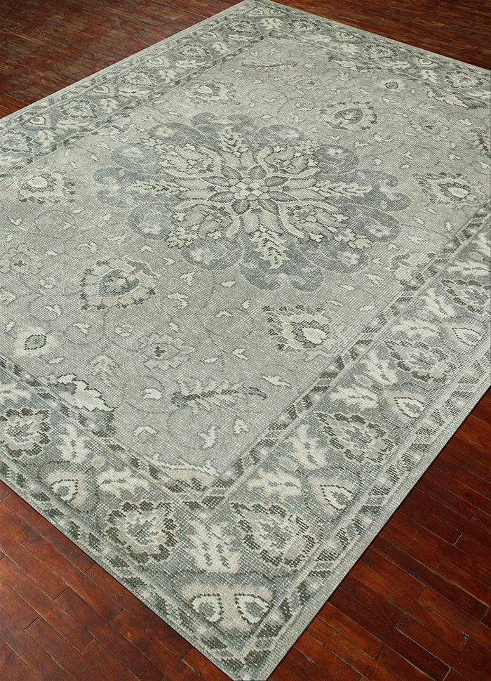 inspired by jennifer adams grey and black wool hand knotted Rug - FloorShot